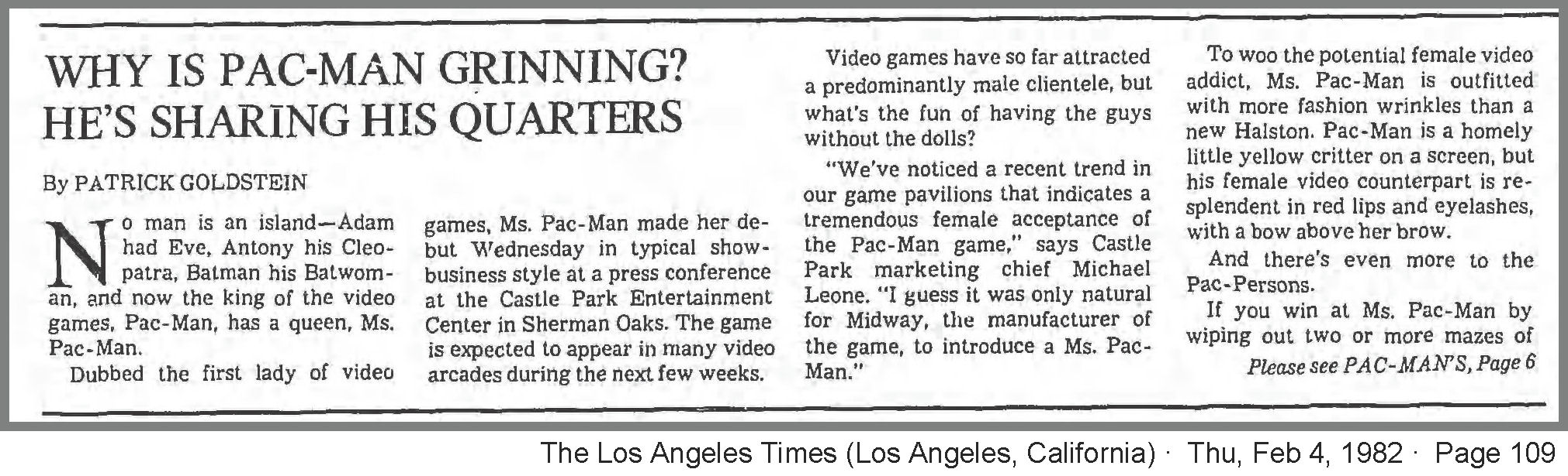 Newspaper Article Describing Ms Pac-Man Launch Date