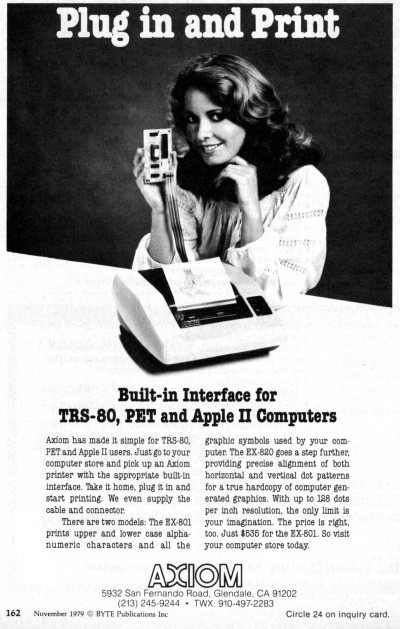 AXIOM EX-801 EX-820 printer card TRS-80, Commodore PET, Apple II advertisement - BYTE November 1979
