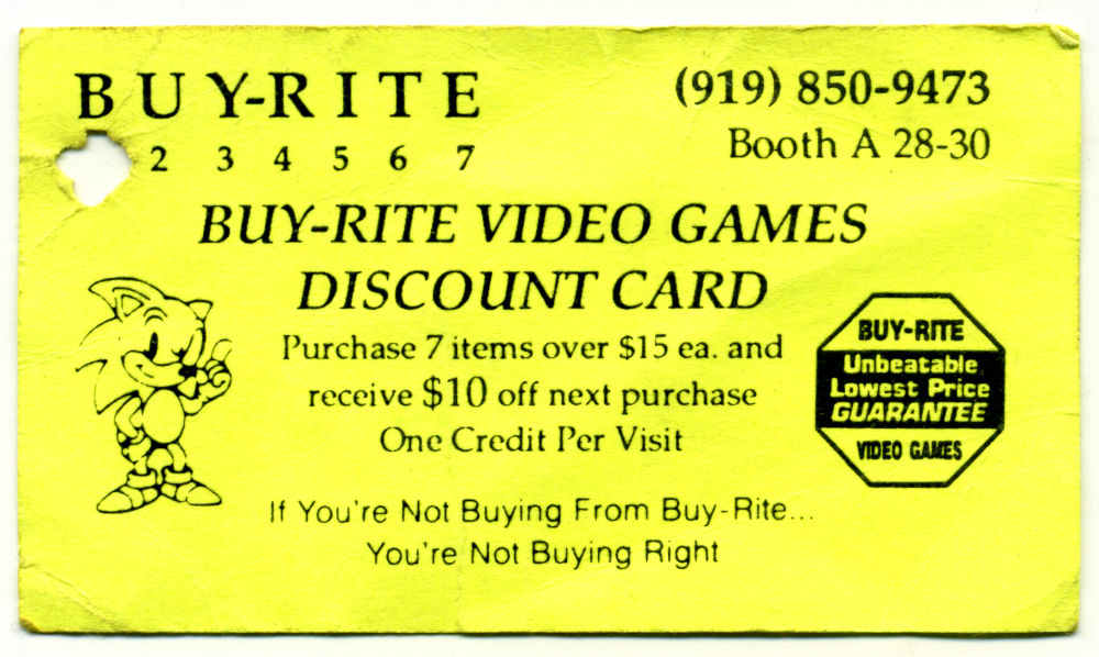 Buy-Rite Video Games Business Card Scan 1990s