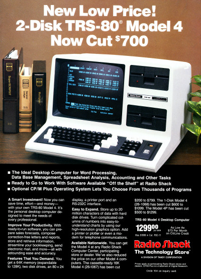 Tandy Radio Shack TRS-80 Model 4 advertisement - BYTE October 1984